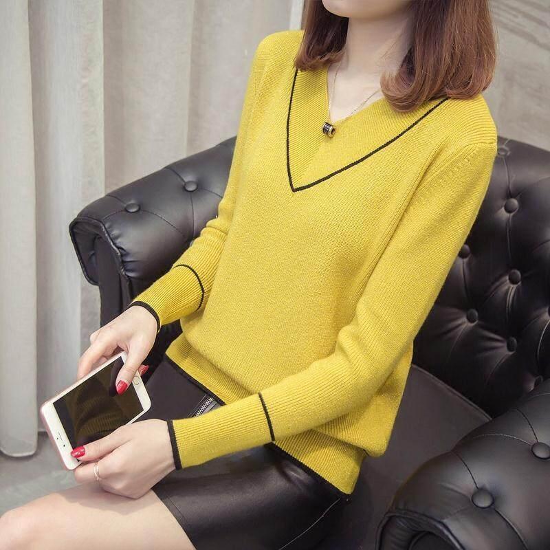 V-neck Sweater Women s Pullover 2021 Autumn New Korean Version of The Bottoming Shirt Short Loose Wild Heart-neck Sweater thumbnail